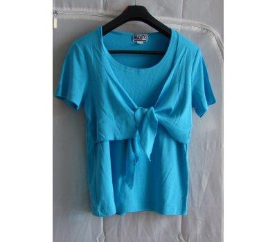 0075 Zajímavé modré tričko se zavazováním vel L Maxime Maxime