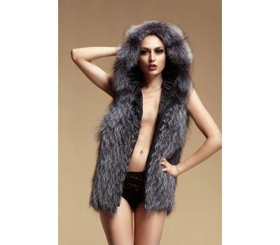 Kožešinová vesta s kapucí ze stříbrné lišky S/M