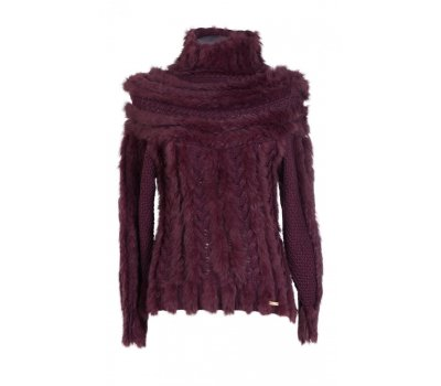 Just Cavalli luxusní svetr s kožešinou M