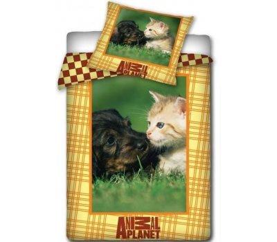 Povlečení na velkou postel fototisk Pes kočka