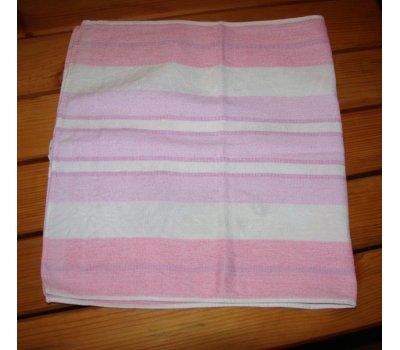 1282 použitý pruhovaný růžovobílý ručník