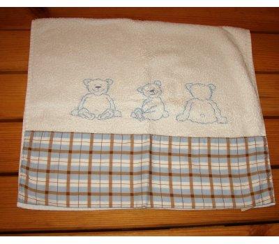 1283 použitý bílý ručník +károvaný okraj +medvídci