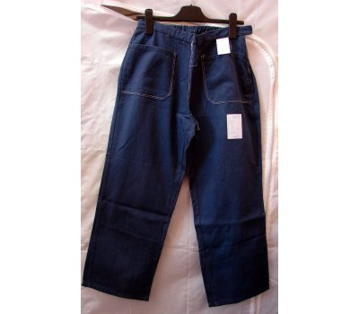 0966 modré monterkové kalhoty do pasu na donošení asi dámské