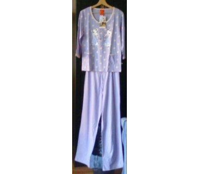 646 Dámské,dívčí pyžamo fialová/lila +bílý puntík,obrázek dvě kapsičky 3/4 rukáv