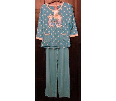 647 Dámské,dívčí pyžamo modré +bílý puntík,obrázek dvě kapsičky 3/4 rukáv