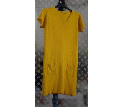 672 ÚPLETOVÉ šaty s krátkým rukávem a kapsami