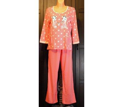 686 Dámské,dívčí pyžamo RŮŽOVÉ+bílý puntík,obrázek dvě kapsičky 3/4 rukáv