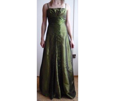 Dlouhé večerní zelené plesové šaty