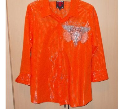 Pánská oranžovo-stříbrná pruhovaná košile s potiskem a kamínky