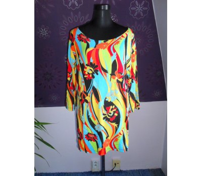Dámské šaty, CLARISSE, L-XL, BAREVNÉ TRIČKO, TUNIKA, VISCOSA